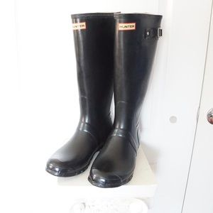Tall Black HUNTER Rubber Rain Boots Black Sz 12